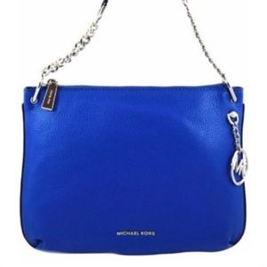 MICHAEL KORS LILLIE GRECIAN BLUE LEATHER MESSENGER